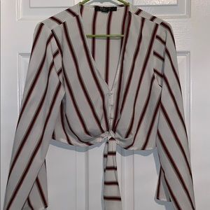 Red & White Striped Tie Blouse